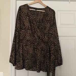 Leopard faux wrap blouse